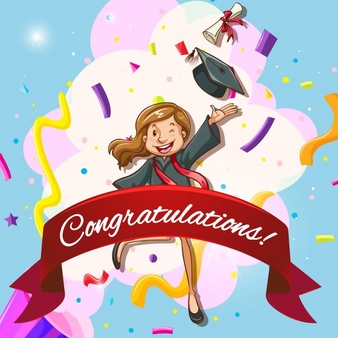 card template for congratulations with woman in graduation gown 1308 3024